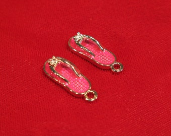 """5pc pink """"flip flop"""" charms in antique silver style (BC624)"""