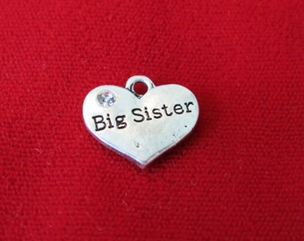 "5pc ""Big sister"" charms in antique silver style (BC646)"