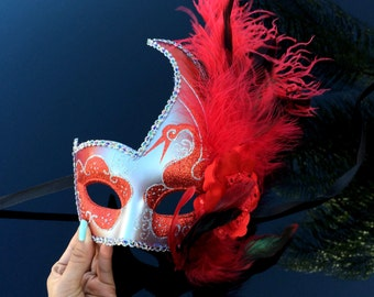 Fashionable Womens Venetian Masquerade Mask w/ Feathers, Flowers, Silver and Red Acrylic Glitter Work