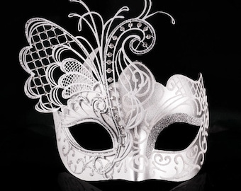 Silver/White Butterfly Costume Masquerade Mask, Halloween Costume, Masquerade Ball Mask