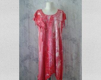 bohemian dress,tattered,coral pink,cotton stretch,tie dye,size M-L-XL