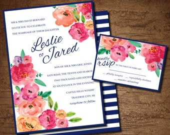 Floral Watercolor and Navy Striped Wedding Invitation and RSVP Card Set (printable)