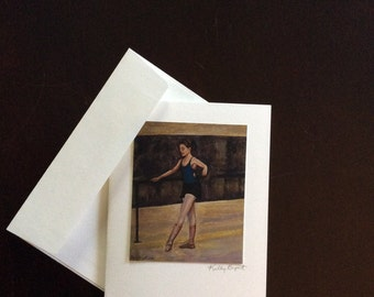 Fine Art Greeting Card, Ballerina, blank card with matching envelope