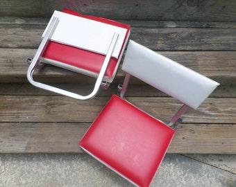 Vintage Stadium Bleacher Chair Folding Game Chairs Red