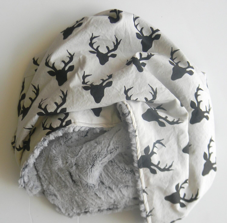 Large Minky Baby Blanket Baby Boy Blanket Black Stag Rustic