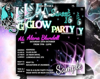 blackout party invitations uv glow dance party blacklight, party invitations