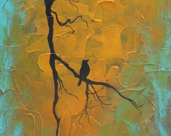 Giclee PRINT 5x10 Original Golden Moment Bird on Branch Nature Art Silhouette Tree Acrylic Painting Rustic Warm Contemporary Card