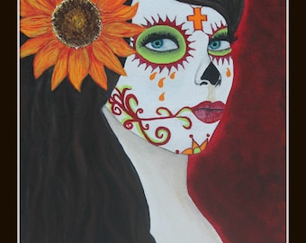 Giclee PRINT Day of the Dead 8x10 Esperanza Sunflower Hope Lady Autumn Fall Flowers Sugar Skull Acrylic Painting Signed Dia de los Muertos