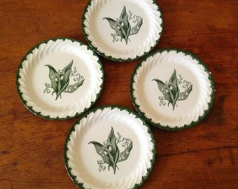 Four pretty Lily of the Valley dessert plates
