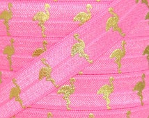 Neon Pink and Gold Metallic Flamingo Print Fold Over Elastic - Elastic for Baby Headbands and Hair Ties - 5 Yards 5/8 inch Printed FOE