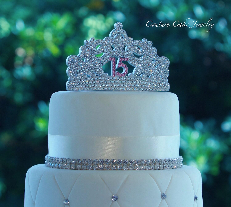 Quinceanera Cake Topper Sweet 15 Swarovski Tiara Cake Topper