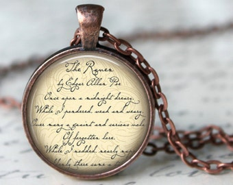 THE RAVEN Necklace Edgar Allan Poe quote necklace Literary Necklace Poem Art Literature Jewerly Pendant Book Art Necklace Handmade Jewerly
