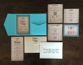 5x7 Country Western Rustic Pocket Wedding Invitation in Turquoise with Directions, Accommodations, Details and Postcard RSVP