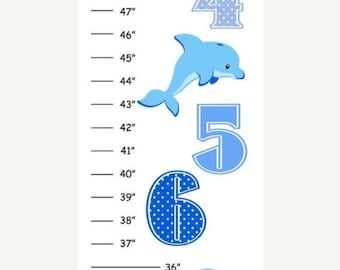 Personalized Blue Dolphin Canvas Growth Chart