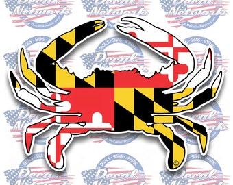 """Maryland Falg blue crab decal sticker 5""""x 7"""""""