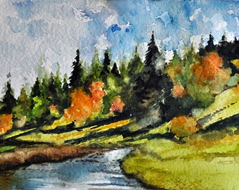 Original Watercolor Painting, Mountain River, River painting 5x7 inch