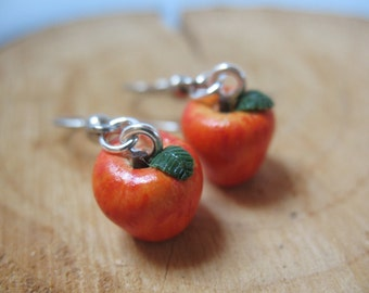Handmade Miniature Apple Earrings, Miniature Food Earrings,Apple,Miniature Fruit Earrings, Polymer Clay Earrings, Polymer Clay Jewelry,Fruit