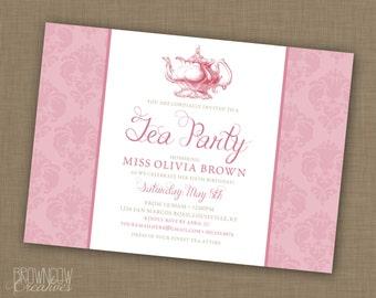 PRINTABLE Girl's Tea Party Invitation