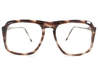 Vintage 1980s Smoky Brown Rounded Browline Eyeglass Frame - Peninsula Stone