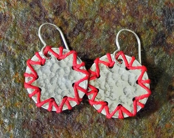 Hammered Sterling Silver Disc Earrings Laced with Red Linen - Round Disc Earrings - Sterling Silver and Linen - Roca Jewelry Designs
