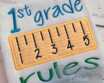 School Applique Design - Back to School Applique - First Day of School Applique - 1st Grade Applique - Applique Design - Embroidery Design
