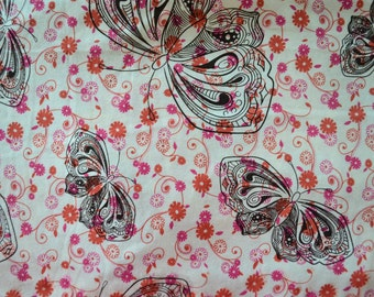 Floral Butterfly - Cotton Knit Fabric