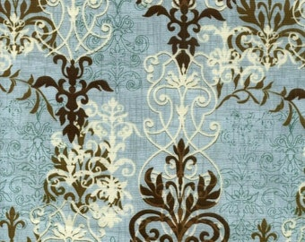 Westminster Prints - Windflower: Antique Background, Blue Cotton Fabric
