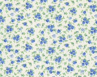 Studio e - Blue Calico Flowers on White Background - Cotton Woven