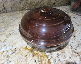 Vintage USA Brown Stoneware Casserole, Bean Pot With Lid