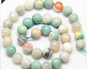 """Amazonite Fire Agate Faceted Round Beads, 8mm , 12mm, 14mm, Opaque Milky Blue Green, Spring Color, 15.5"""" FULL Strand**Wholesale Pricing**"""