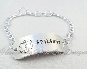 Medical ID Chain Bracelet - EPILEPSY epileptic handstamped