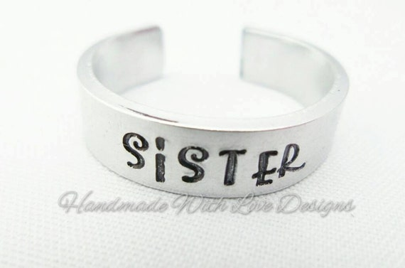 SISTER Hand Stamped Cuff Ring