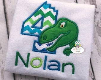 Dinosaur Themed Birthday Shirt or Bodysuit, Party, Dinosaur Personalized Shirt, Dinosaur Shirt, Dino Shirt, Numbers 1-9 available