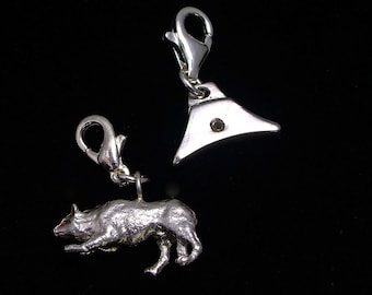 Silver border collie charm on clip; Silver whistle charm on clip