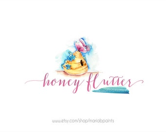 CLEARANCE - Watercolor Bee Hive and Butterfly Watermark Business Logo - Watercolor, Children,  Drawn,  Newborn Logo, Honey, Photography