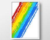Colorful rainbow art print - Watercolor - Rainbow Print - Colorful and Abstract Art - Abstract print - Modern art - 8x10 -  Rainbow Splash