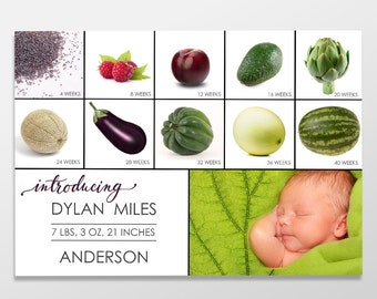 Funny Custom Digital Baby Boy or Girl Photo Birth Announcement, Funny, PRINTABLE or Printed Baby Announcement - Produce