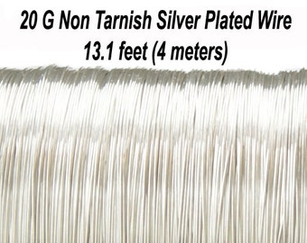 20 Gauge (0,8 mm), Non Tarnish Silver Plated Copper Wire, Round, 19.7 feet (6 meters), Made in UK
