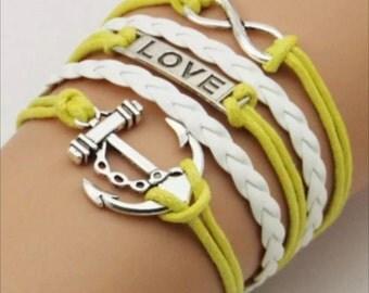 Infinity bracelet anchor heart love
