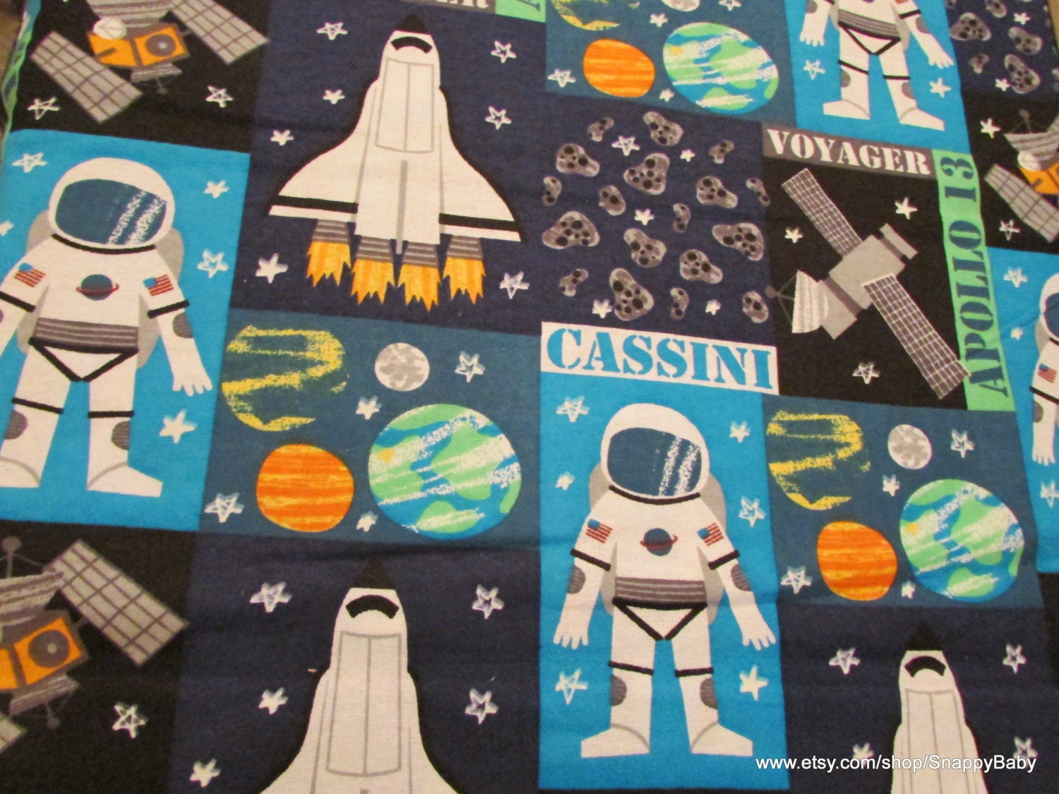 Flannel fabric space block glow in the dark 1 yard by for Space flannel