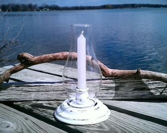 Vintage Candlestick Holder, Hurricane Lamp, Shabby Chic, Cottage, Beach Decor