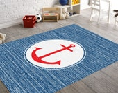 Anchor Rug, Nautical Rug, Navy Rug, Beach House Decor, Navy Blue Rug, Nursery Rug, Nautical Nursery Decor, Nautical Decor For Nursery, Kids