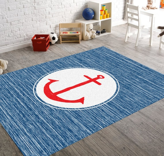 Nautical Blue Rug: Anchor Rug Nautical Rug Navy Rug Beach House By HawkerPeddler