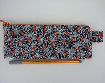 """Zipper pouch pencil case cosmetic """"Spider"""" in black, white, orange"""