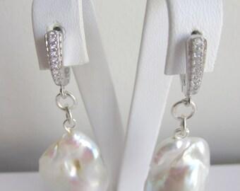 Real Pearl Earrings ,Freashwater Pearl Earring , Sterling Silver Earrings , Pearl Earrings,Natural Sea pearl Earrings