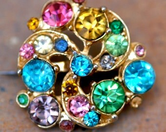 Multi Color Rhinestone Brooch Tiny Pin Vintage