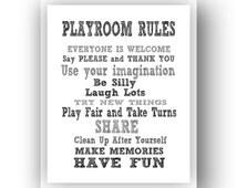 BOGO SALE!  11x14 Playroom Rules Sign.  Digital download art print 11x14