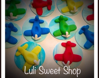 12 Fondant airplanes many colors for cupcake toppers
