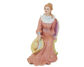 Lady Courtney's Dream Victorian Porcelain Figurine Homco 1439, Woman Chair Straw Hat Home Interiors