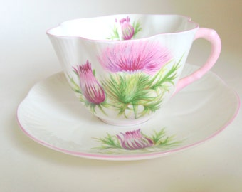 Thistle Shelley Tea Cup and Saucer, Shelley China, Shelley Tea Cups, Scottish Thistle Cups, Shelley Teacups, Shelley Tea Set, VogueTeam